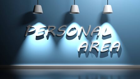 PERSONAL AREA write hanging at the wall - 3D rendering illustration 版權商用圖片