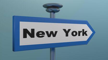 Blue arrow street sign NEW YORK - 3D rendering illustration