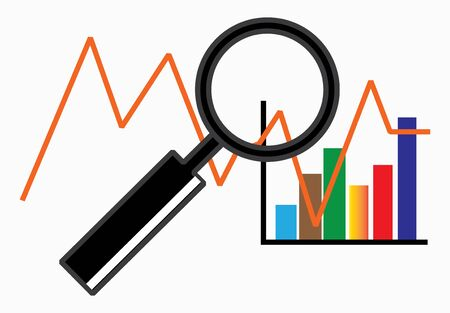 Data Analysis with charts examined by a magnifier - Vector