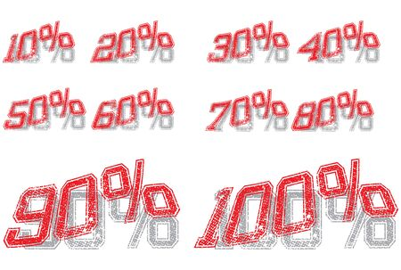 Series of Percentage signs from 10% to 100% - Vector Illustration