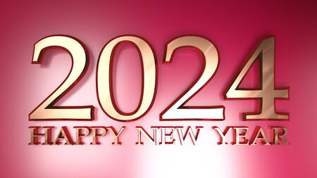 2024 Happy New Year copper write on red background - 3D rendering illustration