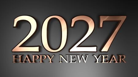 2027 Happy New Year copper write on black background - 3D rendering illustration Stock Photo