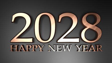 2028 Happy New Year copper write on black background - 3D rendering illustration