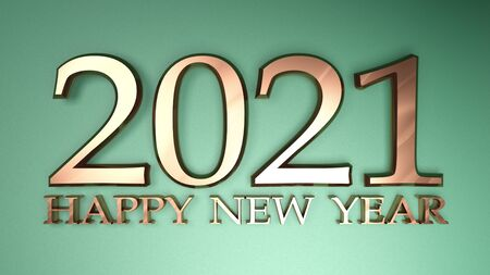 2021 Happy New Year copper write on metallic green background - 3D rendering illustration