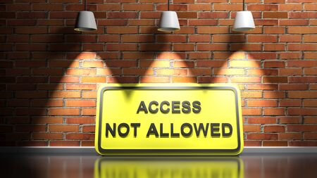 ACCESS NOT ALLOWED yellow sign at red bricks wall - 3D rendering illustration Stock fotó