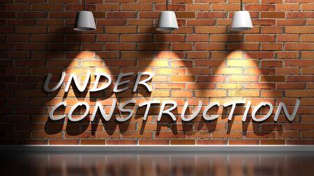 UNDER CONSTRUCTION write at red bricks wall - 3D rendering illustration