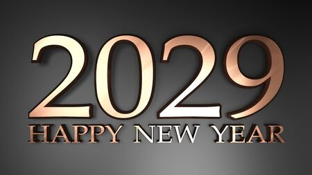 2029 Happy New Year copper write on black background - 3D rendering illustration