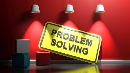 PROBLEM SOLVING yellow sign at red wall - 3D rendering illustration
