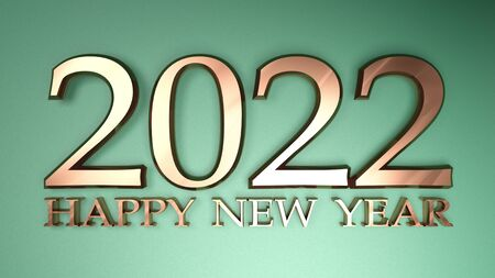 2022 Happy New Year copper write on metallic green background - 3D rendering illustration Stock Photo