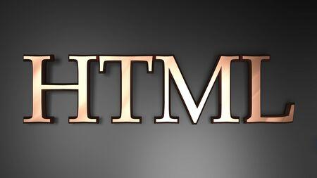 HTML write in copper letters on black background - 3D rendering illustration