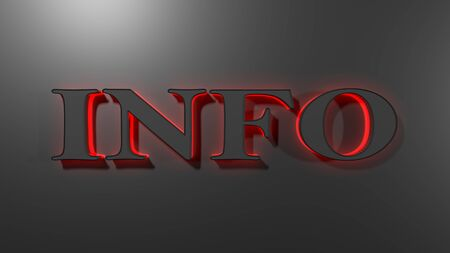 INFO write in red led letters on black background - 3D rendering illustration
