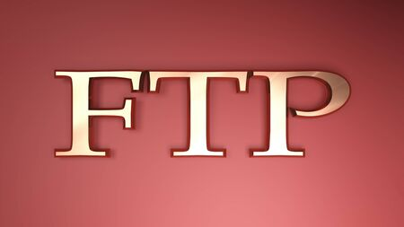 The write FTP - File Transfer Protocol - in copper letters on red satin background - 3D rendering illustration Reklamní fotografie