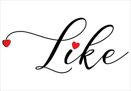 Like write on white background, with red hearts - vector