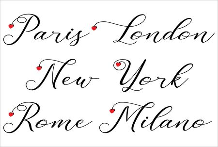 Paris, London, New York, Rome, Milano handwrites with red hearts on white background - vector Иллюстрация