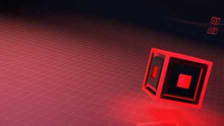 Absstract red background with grid and red lighted cube - 3D rendering illustration