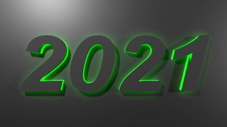 2021 black with green backlight, on black glossy surface - 3D rendering illustration