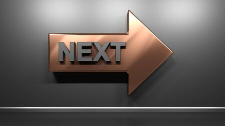 Metallic copper arrow with write NEXT, at a glossy black wall - 3D rendering illustration