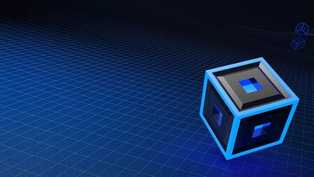 Absstract blue background with grid and red lighted cube - 3D rendering illustration