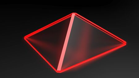 Abstract pyramidal red structure with satin glass faces on black surface - 3D rendering illustration