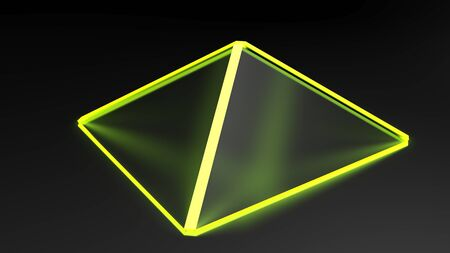 Abstract pyramidal yellow structure with satin glass faces on black surface - 3D rendering illustration