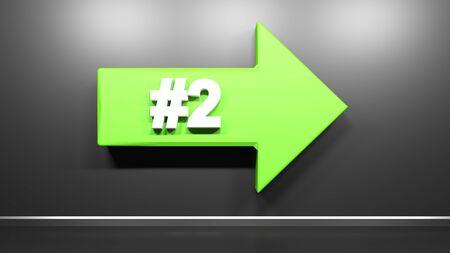 Number Two green arrow at black background - 3D rendering illustration Zdjęcie Seryjne