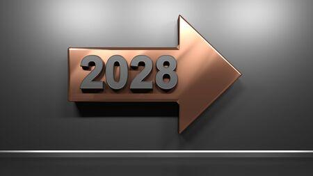 2028 copper arrow at satin black wall - 3D rendering illustration Zdjęcie Seryjne - 138004846