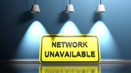 Yellow sign NETWORK UNAVAILABLE, leaning at a blue illuminated wall - 3D rendering illustration 版權商用圖片