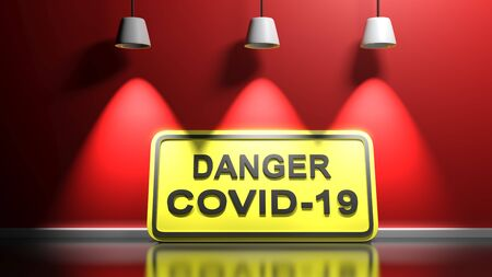DANGER COVID-19 yellow sign at red wall - 3D rendering illustration
