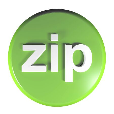 zip green circle push button 3D rendering illustration Imagens