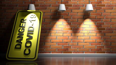 DANGER COVID-19 yellow sign at red bricks wall - 3D rendering illustration Imagens