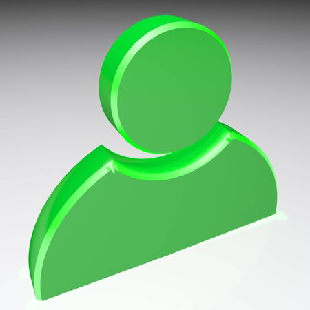 Icon for profile, green on white background - 3D rendering illustration