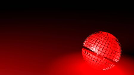 Hot red lighting sphere on black background - 3D rendering illustration Imagens