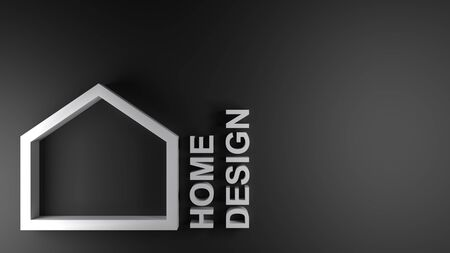 HOME DESIGN icon on black background - 3D rendering illustration Imagens