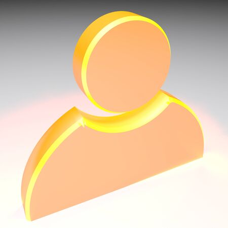 Icon for profile, gold yellow on white background - 3D rendering illustration Imagens