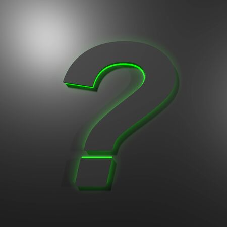Black question mark on black glossy background, with green backlight - 3D rendering illustration Imagens