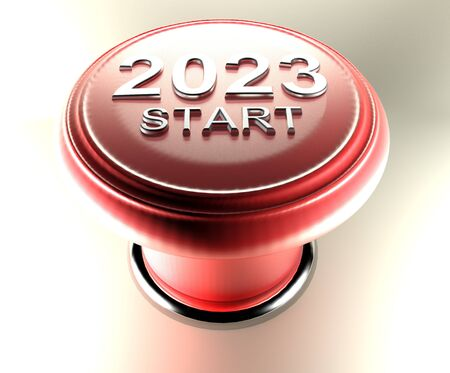 2023 START on red emergency push button - 3D rendering illustration
