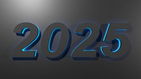 20205 black write on black surface with blue backlight - 3D rendering illustration Imagens