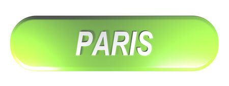 PARIS green rounded rectangle push button - 3D rendering illustration