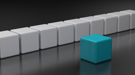 Blue cube in front of a white series of cubes - 3D rendering illustration