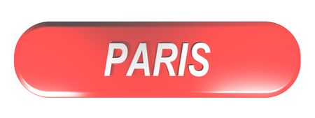 PARIS red rounded rectangle push button - 3D rendering illustration Imagens