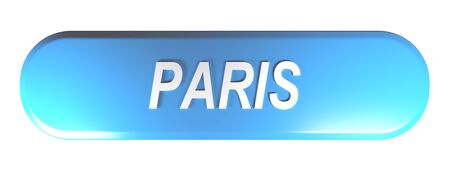 PARIS blue rounded rectangle push button - 3D rendering illustration