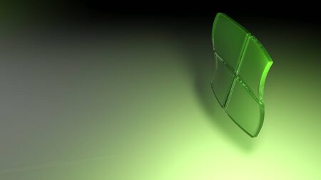 Abstract background with four green colored transparent square glasses waving over a green surface - 3D rendering illustration
