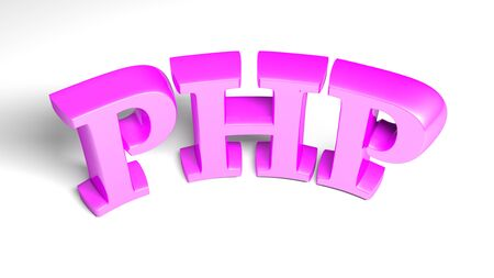 PHP purple bent write isolated on white background - 3D rendering illustration