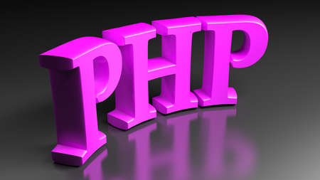 PHP purple pink bent write isolated on black background - 3D rendering illustration
