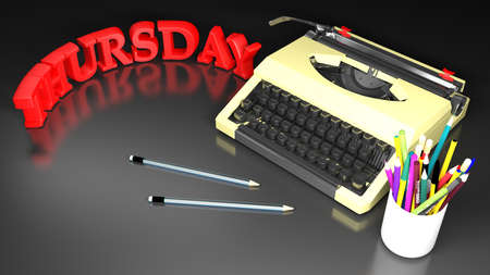 Typewriter on black desk with THURSDAY write - 3D rendering illustration 스톡 콘텐츠