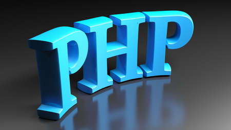 PHP blue bent write isolated on black background - 3D rendering illustration