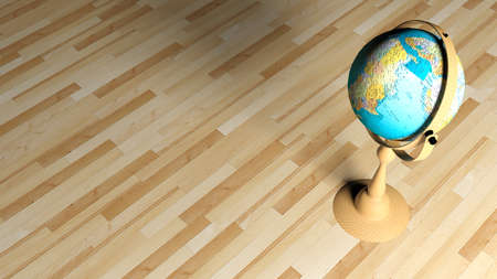 Globe on wooden floor - 3D rendering illustration 스톡 콘텐츠