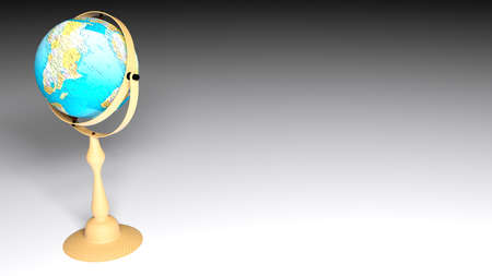 Globe on white floor - 3D rendering illustration 스톡 콘텐츠