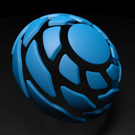 Spiral hemisphere blue colored on black background - 3D rendering illustration Standard-Bild