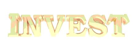 INVEST brass write on white background - 3D rendering illustration